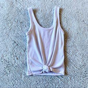 Knot Front Ribbed Cropped White Tank Top Size XS